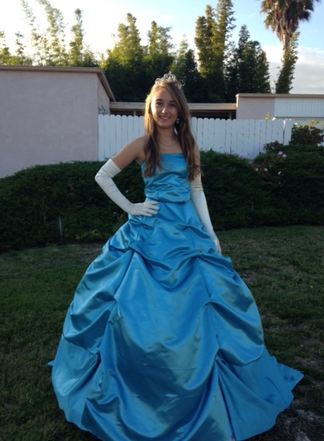 Blue Satin Ballgown