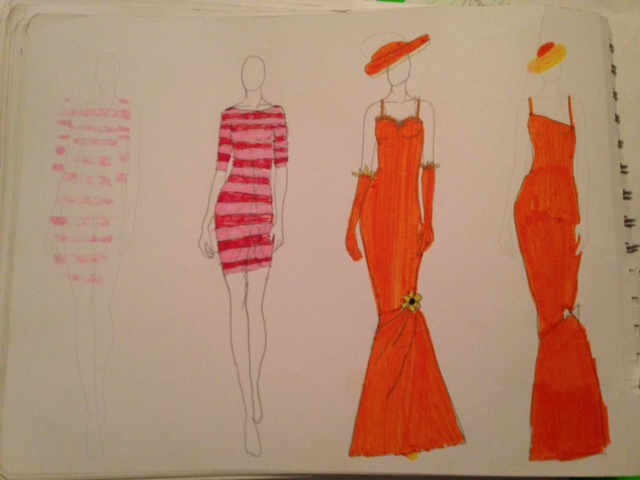 Orange Wedding Dress Sketches